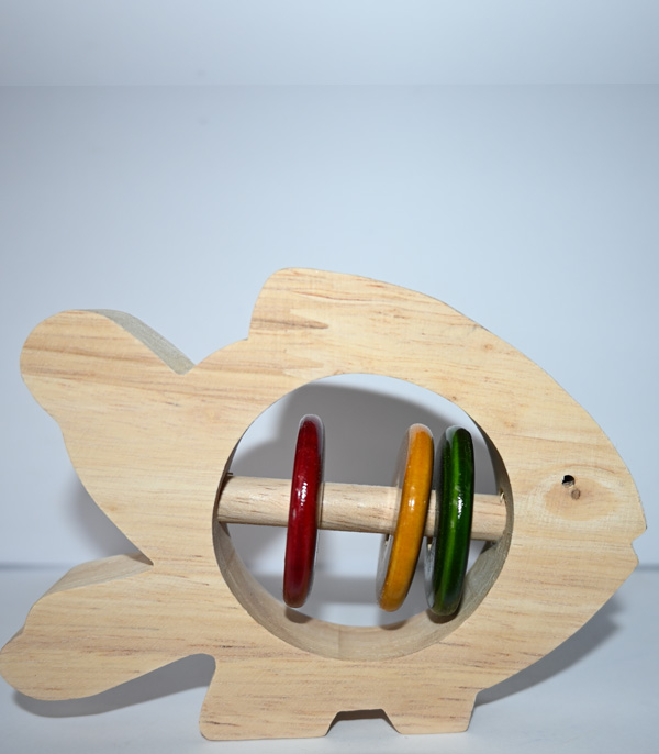 Wooden Toy Fish With Rings Inside For Kids